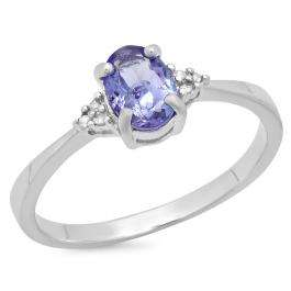 0.92 Carat (ctw) Sterling Silver Oval Cut Tanzanite & Round White Diamond Ladies Bridal Promise Engagement Ring