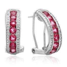 1.56 Carat (ctw) Sterling Silver Round Cut Pink Topaz & White Diamond Ladies Fashion Hoops Earrings