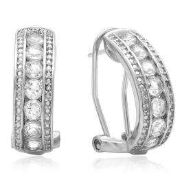 1.56 Carat (ctw) Sterling Silver Round Cut White Topaz & White Diamond Ladies Fashion Hoops Earrings
