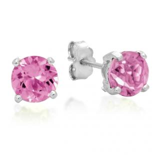 1.12 Carat (ctw) Sterling Silver Round Cut Genuine Pink Topaz Ladies Basket Setting Stud Earrings