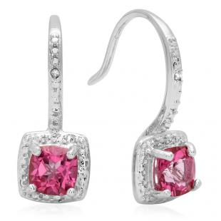 0.58 Carat (ctw) Sterling Silver Cushion Shape Pink Topaz & Round White Diamond Ladies Halo Dangling Drop Earrings