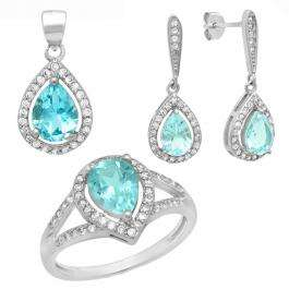 Sterling Silver Pear Cut Blue Topaz & Round White Cubic Zirconia Ladies Halo Style Pear Shaped Engagement Ring, Earring & Pendant Set