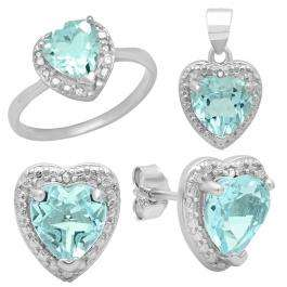 Sterling Silver Heart Cut Blue Topaz & Round Diamond Accent Ladies Halo Style Heart Shaped Promise Ring, Earring & Pendant Set