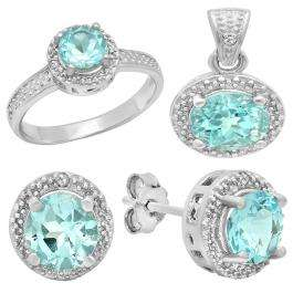 Sterling Silver Round Cut Blue Topaz & White Diamond Accent Ladies Halo Style Engagement Ring, Earring & Pendant Set