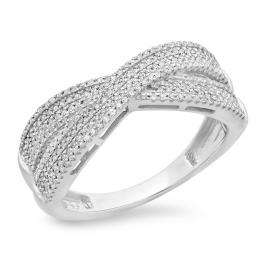 0.35 Carat (ctw) 14K White Gold Round White Diamond Ladies Crossover Swirl Anniversary Wedding Band Stackable Ring 1/3 CT