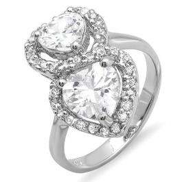 3.00 CT Sterling Silver Ladies Round Double Heart Cubic Zirconia CZ Classic Cocktail ring 0.70 inch (Available in size 6 7 8)