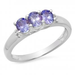 0.70 Carat (ctw) Sterling Silver Oval Cut Tanzanite & Round Cut White Topaz Ladies 3 Stone Bridal Engagement Ring