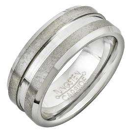 Tungsten Carbide Men's Ring Wedding Band 7MM (0.28 inch) Double Grooved Brush Finish Comfort Fit (Available in Sizes 8 to 12)