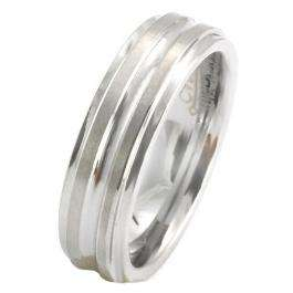 6 MM Tungsten Mens Double Grooved Brushed Ring Wedding Band
