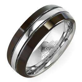 Tungsten Carbide Men's Ring Wedding Band 8MM (5/16 inch) Black High Polished Center Comfort Fit  (Available in Sizes 8 to 12)