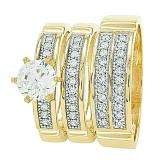 Gold Trio Sets with 6 prong round Cubic Zirconia Head Men & Women's Ring