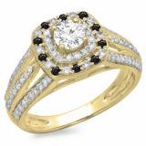 1.10 Carat (ctw) 10K Yellow Gold Round Cut Black & White Diamond Ladies Split Shank Vintage Style Bridal Halo Engagement Ring 1 CT