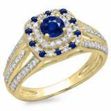 1.10 Carat (ctw) 10K Yellow Gold Round Cut Blue Sapphire & White Diamond Ladies Split Shank Vintage Style Bridal Halo Engagement Ring 1 CT