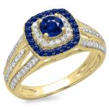1.10 Carat (ctw) 10K Yellow Gold Round Cut Blue Sapphire & White Diamond Ladies Split Shank Vintage Style Bridal Halo Engagement Ring 1 CT