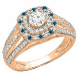 1.10 Carat (ctw) 10K Rose Gold Round Cut Blue & White Diamond Ladies Split Shank Vintage Style Bridal Halo Engagement Ring 1 CT