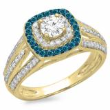 1.10 Carat (ctw) 10K Yellow Gold Round Cut Blue & White Diamond Ladies Split Shank Vintage Style Bridal Halo Engagement Ring 1 CT