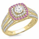 1.10 Carat (ctw) 10K Yellow Gold Round Cut Pink Sapphire & White Diamond Ladies Split Shank Vintage Style Bridal Halo Engagement Ring 1 CT