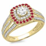 1.10 Carat (ctw) 18K Yellow Gold Round Cut Ruby & White Diamond Ladies Split Shank Vintage Style Bridal Halo Engagement Ring 1 CT
