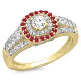 1.00 Carat (ctw) 14K Yellow Gold Round Cut Ruby & White Diamond Ladies Vintage Style Bridal Halo Engagement Ring 1 CT