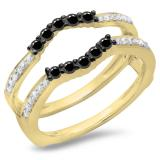 0.50 Carat (ctw) 18K Yellow Gold Round Cut Black & White Diamond Ladies Anniversary Wedding Band 5 Stone Enhancer Guard Double Ring 1/2 CT