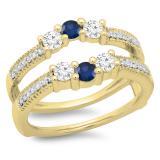 0.80 Carat (ctw) 18K Yellow Gold Round Cut Blue Sapphire & White Diamond Ladies Anniversary Wedding Band 3 Stone Enhancer Guard Double Ring 3/4 CT