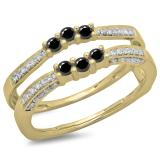 0.50 Carat (ctw) 10K Yellow Gold Round Cut Black & White Diamond Ladies Anniversary Wedding Band Enhancer Guard Double Ring 1/2 CT