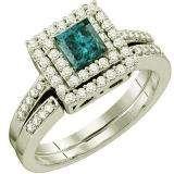 0.85 Carat (ctw) 14k White Gold Round & Princess Cut White & Blue Diamond Ladies Bridal Halo Engagement Ring Set