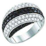 2.05 Carat (ctw) 10k White Gold Round Black & White Diamond Ladies Right Hand Fashion Band