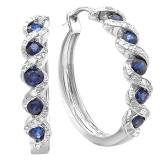 0.86 Carat (ctw) Sterling Silver White Round Diamond & Blue Sapphire Hoop Earrings