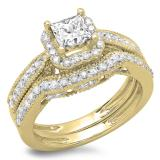 1.50 Carat (ctw) 10K Yellow Gold Princess & Round Diamond Ladies Halo Style Bridal Engagement Ring With Matching Band Set 1 1/2 CT