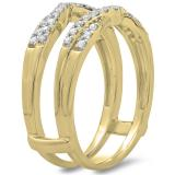 0.33 Carat (ctw) 14K Yellow Gold Round Cut Diamond Ladies Anniversary Wedding Band Enhancer Guard Double Chevron Ring 1/3 CT