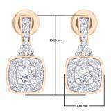 0.50 Carat (ctw) 18K Rose Gold Round White Diamond Ladies Halo Style Dangling Earrings 1/2 CT