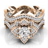2.25 Carat (ctw) 14K Rose Gold Round White Cubic Zirconia Ladies Bridal Fashion Vintage Style Engagement Ring With Matching Band Set