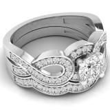 1.00 Carat (ctw) 14K White Gold Round Cut White Cubic Zircona Ladies Bridal Swirl Split Shank Engagement Ring With Matching Band Set