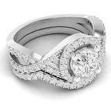 1.50 Carat (ctw) 14K White Gold Round Cut White Cubic Zircona Ladies Bridal Swirl Split Shank Halo Engagement Ring With Matching Band Set