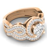 1.30 Carat (ctw) 14K Rose Gold Round Cut White Cubic Zircona Ladies Bridal Swirl Split Shank Halo Engagement Ring With Matching Band Set