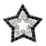 0.45 Carat (ctw) 10K White Gold Round Black & White Diamond Star Pendant