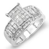 1.25 Carat (ctw) 14k White Gold Ladies Princess Baguette & Round Diamond Engagement Bridal Ring Invisible Set 1 1/4 CT