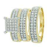 10k Yellow & White Gold Round Cubic Zirconia CZ Wedding Bridal Engagement Ring Trio Set