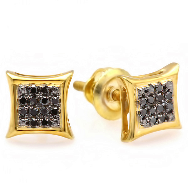 DazzlingRock 0.10 Carat (ctw) 10K Yellow Gold Black Round Diamond Micro Pave Setting Kite Shape Stud Earrings 1/10 CT at Sears.com