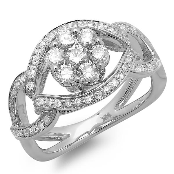 1.00 Carat (ctw) 14K White gold Round Cut Diamond Ladies Bridal Engagement Ring